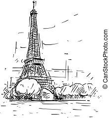 schizzo, eiffel, parigi, francia, torre, cartone animato