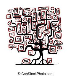schizzo, famiglia, persone, ritratti, albero, disegno, tuo
