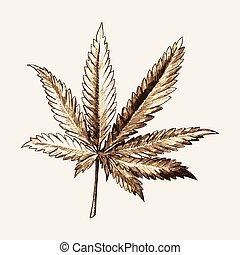 schizzo, foglia, marijuana