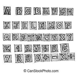 schizzo, font, disegno, mano