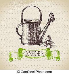schizzo, giardinaggio, vendemmia, mano, fondo., disegno, disegnato