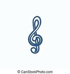 schizzo, icon., g-clef