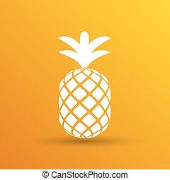 schizzo, illustrazione, mano, closeup, ananas, disegnato, cartone animato
