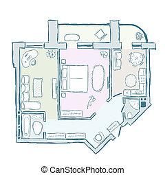schizzo, illustrazione, mano, interno, vettore, disegno, appartamento, disegnato