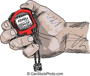 schizzo, illustrazione, mano, vettore, presa a terra, stopwatch., maschio