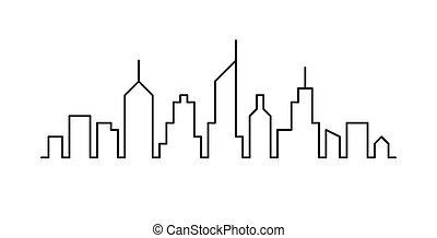 schizzo, linea, cityscape, disegno