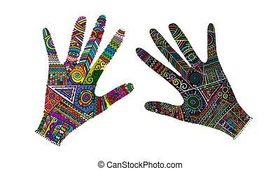 schizzo, mani, boho, ornare, tuo, style., disegno