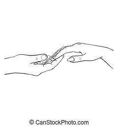 schizzo, mano, disegnato, linea, mani, illustrazione