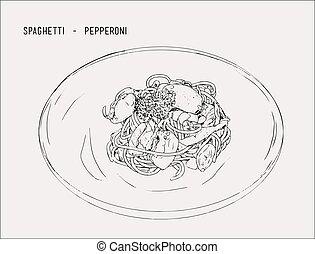 schizzo, mano, pepperoni, vector., disegnato, spaghetti