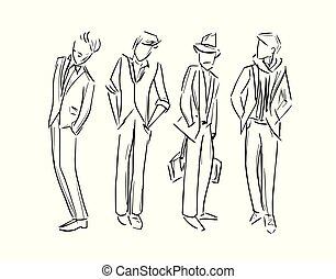 schizzo, moda, set, illustrazione, vettore, uomo