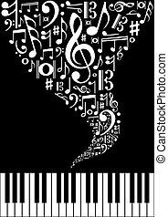 schizzo, musica, fondo