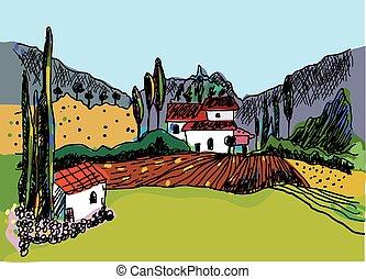 schizzo, natura, fattoria, -, case, paesaggio