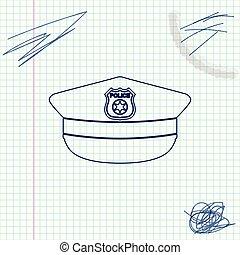 schizzo, polizia, segno., berretto, isolato, illustrazione, fondo., vettore, linea, coccarda, cappello, bianco, icona