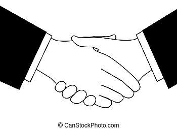 schizzo, quantità affari, stretta di mano, nero, bianco, clipart