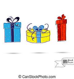 schizzo, regalo, tre, isolato, scatole, archi, fondo, bianco