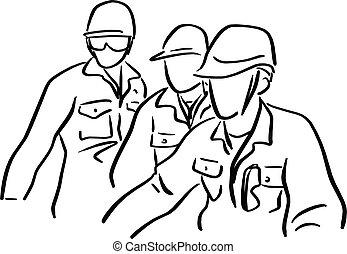schizzo, scarabocchiare, lavoratore duro, isolato, illustrazione, tre, vettore, sfondo nero, disegnato, bianco, mano, cappello, linee, ingegnere