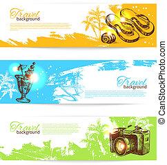 schizzo, set, holoday, colorito, viaggiare, mano, tropicale, schizzo, backgrounds., illustrazioni, disegnato, bandiere, bandiera