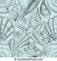 schizzo, starfish, sgusciare, modello, seamless, spiaggia