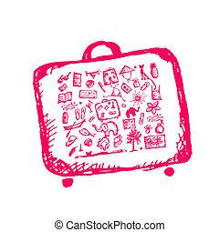 schizzo, tuo, estate, valigia, vacanze, disegno