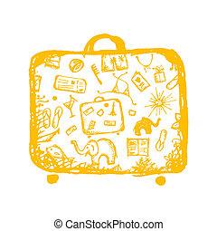 schizzo, tuo, estate, valigia, vacanze, giallo, disegno