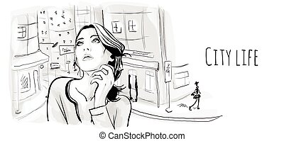 schizzo, vecchio, city., giovane, illustrazione, vettore, strada, ritratto, ragazza, style.