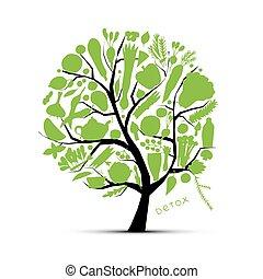 schizzo, vegetables., albero, verde, disegno, tuo