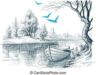 schizzo, /, vettore, delta, barca fiume