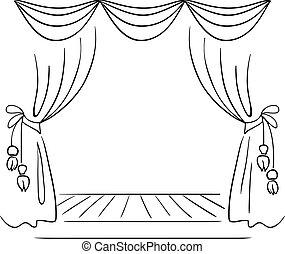 schizzo, vettore, teatro, palcoscenico