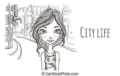 schizzo, vettore, vecchio, city., giovane, illustrazione, strada, ritratto, ragazza, style., europeo
