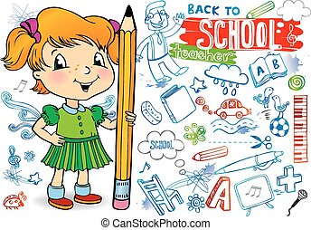 school., -, indietro, doodles, divertente