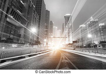 sciangai, notte, finanza, moderno, fondo, zona, città, trafficare, lujiazui, &
