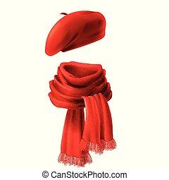 sciarpa, vettore, realistico, basco, rosso, 3d