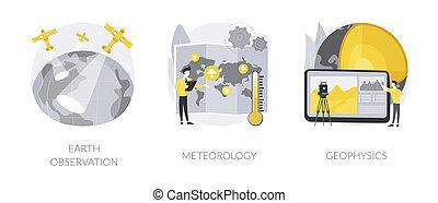 scienza, astratto, vettore, planetario, concetto, illustrations.