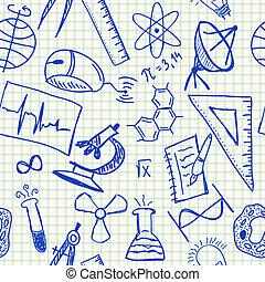 scienza, doodles, seamless, modello