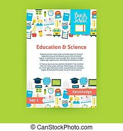 scienza, educazione, sagoma, manifesto