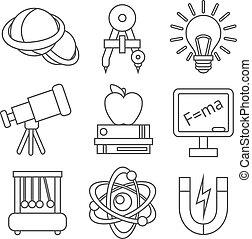 scienza, fisica, icone