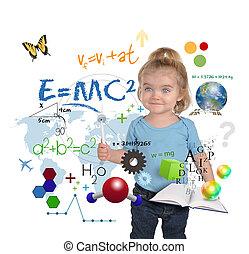 scienza, giovane, scrittura, genio, ragazza, matematica