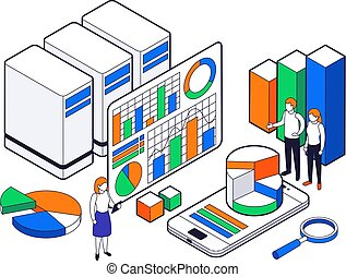 scienza, icona, dati, analisi, set, isometrico, grande