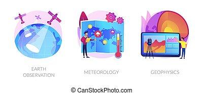 scienza, illustrations., planetario, vettore, concetto, astratto