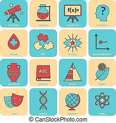 scienza, linea, zone, appartamento, icone