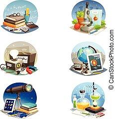 scienza, set, cartone animato