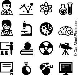 scienza, set, icona