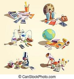 scienza, set, retro, cartone animato