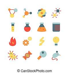 scienza, set, ricerca, appartamento, icona
