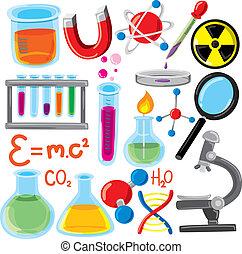 scienza, set, roba