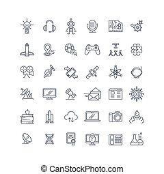 scienza, tecnologie, vettore, linea, icone