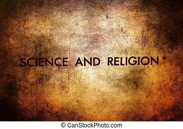 scienza, testo, grunge, fondo, religione