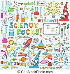 scienza, vettore, illustrazione, doodles