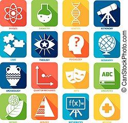 scienza, zone, icone