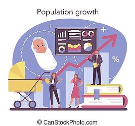 scienziato, dati, concept., analizzare, demographer, popolazione, crescita, studiare